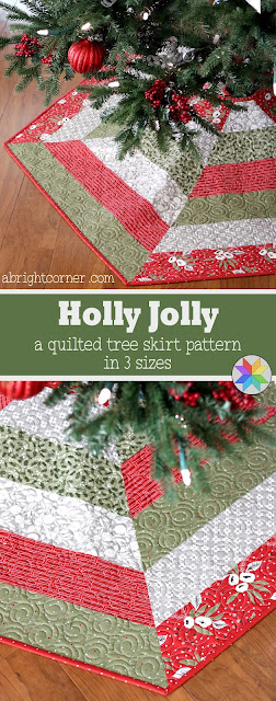 Holly Jolly quilted Christmas Tree Skirt pattern by Andy of A Bright Corner - three sizes and Jelly Roll friendly!