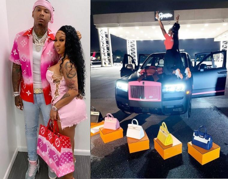 US rapper, Moneybagg Yo gifts his girlfriend Ari Fletcher a custom Rolls-Royce and five Birkin bags on her birthday (videos)