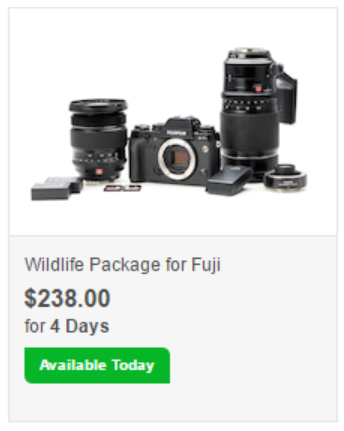 Discount for Wildlife Package for Fuji by LensRentals.com