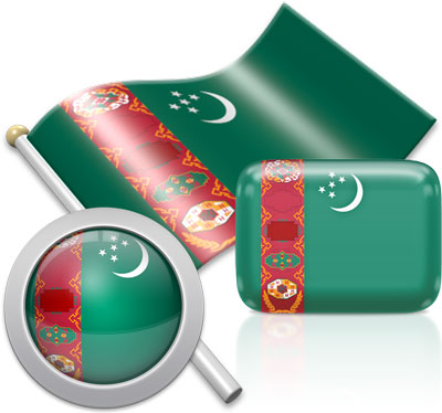 Turkmen flag icons pictures collection