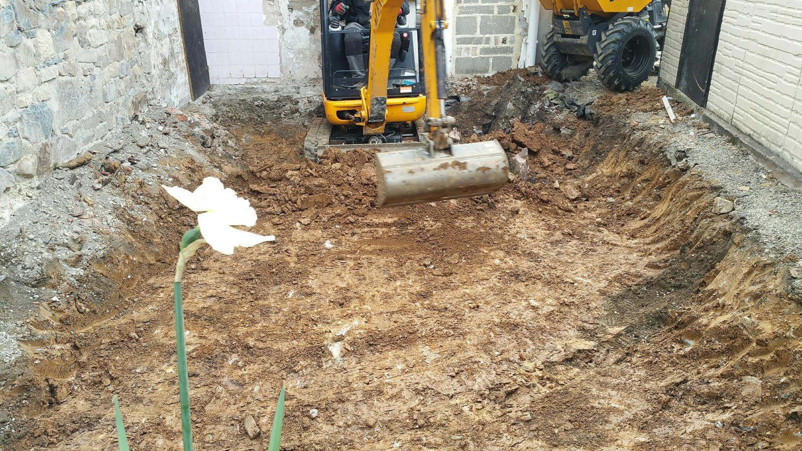 Renovating an old stone cottage digging extension foundations for Digging foundation for house