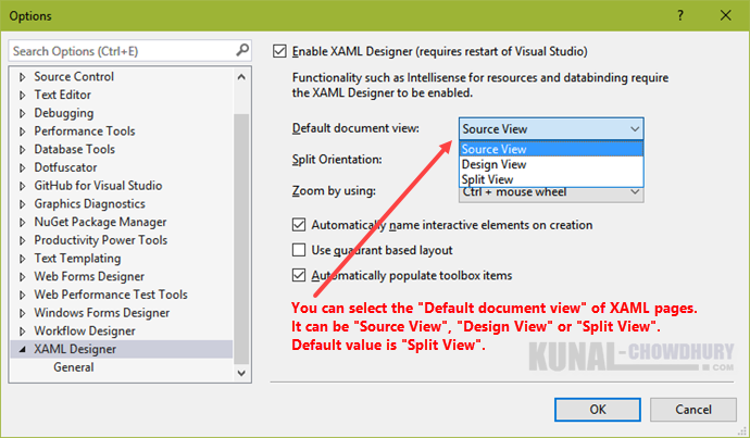 How to change the default document view of XAML files in Visual Studio 2015 (www.kunal-chowdhury.com)