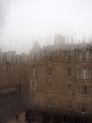 Rainy scene looking out the window on an afternoon in Edinburgh