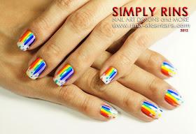 Dripping Rainbow Nail Art Design