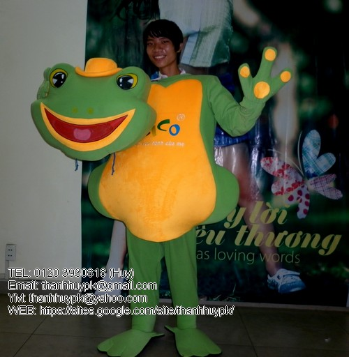 sản xuất mascot con ếch , may mascot con ếch