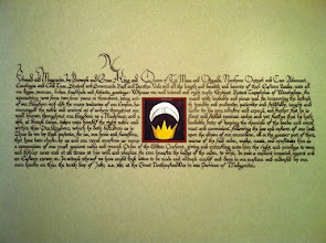 Photo: Silver Crescent for Robert Toxophilus of Werchesope. Words by Mistress Anastasia Gutane. Mitchell #5 nib using Windsor Newton sepia ink on pergamenata. I painted the Silver Crescent as well.