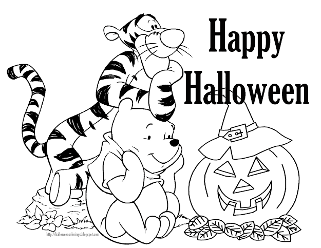 Tigger And Pooh  Free Disney Halloween Coloring Pages