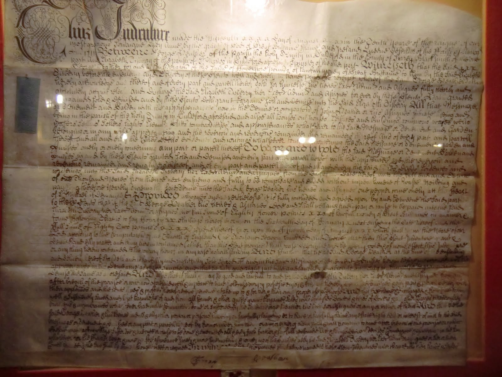 CIMG7220 Framed Indenture, Well House Inn