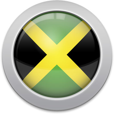 Jamaican flag icon with a silver frame