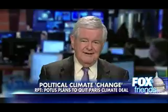 Screenshot of an appearance by former Republican Speaker Newt Gingrich (Georgia) on 'Fox & Friends', 28 May 2017. He claims, erroneously, that poor nations will 'get crushed' by the the Paris climate accord. In fact, many of the world's poorest countries have been among the strongest advocates for the Paris climate deal. Photo: Fox News Channel