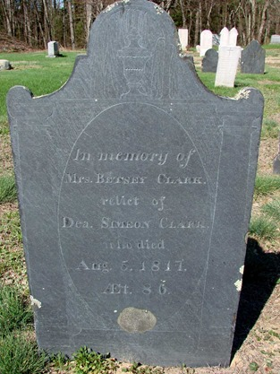 CLARK_Betsey aka Betty nee HALL_headstone_wife of Deacon Simeon CLARK_1731-1817_WestCem_KeeneNH