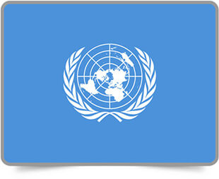 United Nations framed flag icons with box shadow