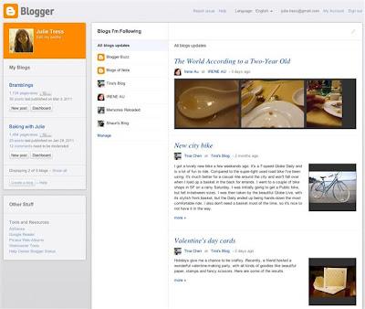 New Dashboard, Blogger 2011
