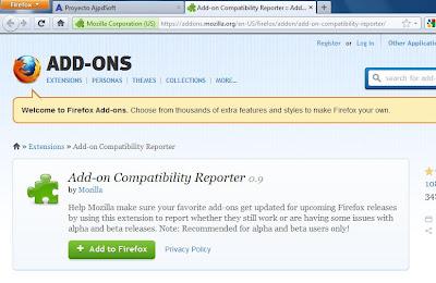 Instalar Add-on Compatibility Reporter 0.9 en Mozilla Firefox 6