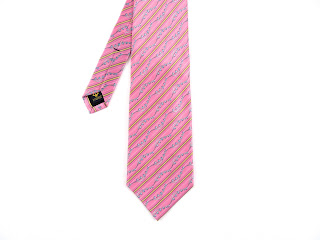 Faberge Pink Silk Tie With Stripes