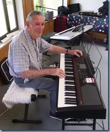 Roy Steen playing the Korg Havian 30 digital ensemble piano kindly provided by Music Planet Takapuna for the day.