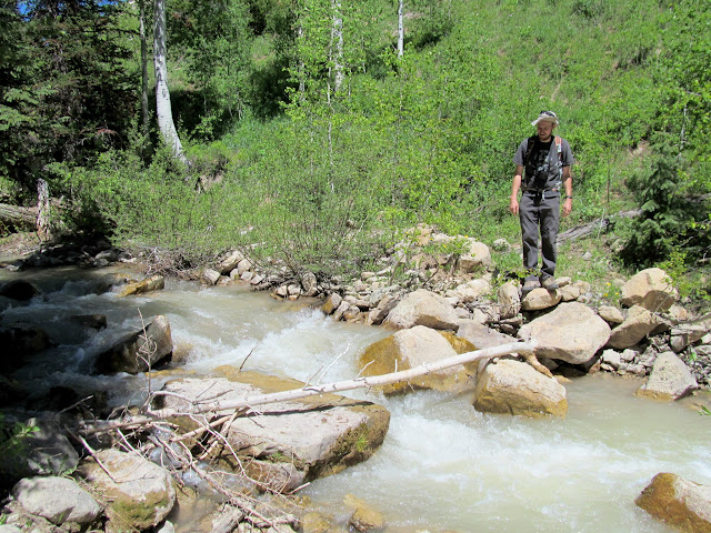 Crossing the creek in Bulger Canyon