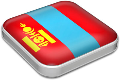 Flag of Mongolia with metallic square frame