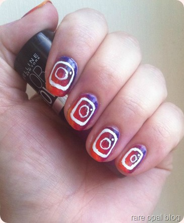 new instagram logo nails, ombre nail design with instagram logo over