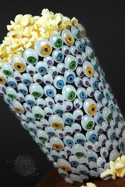 Popcorn container monster eyeball covered