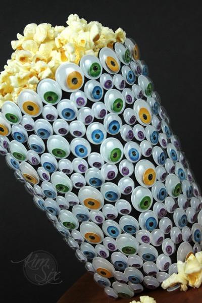 Popcorn container monster eyeball covered