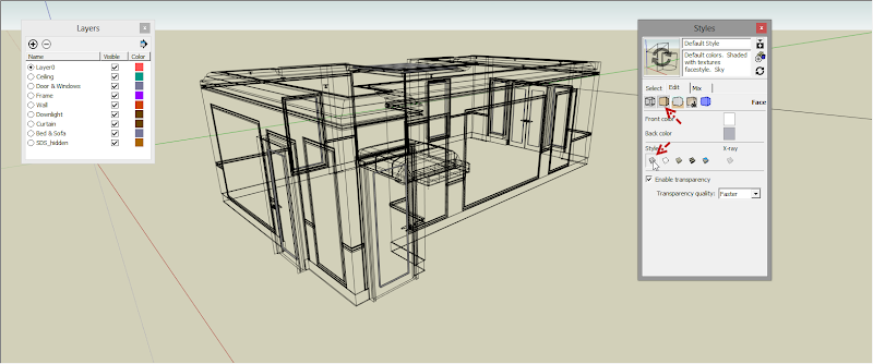 SketchUp - กำหนดการแสดงผลของ SketchUp ให้เหมือนกับการทำงานบน AutoCAD Sutocad04