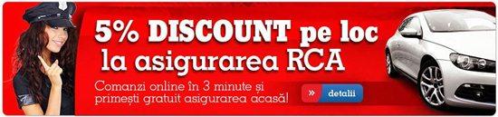 5% discount pe loc la asigurarea RCA doar la EMAG