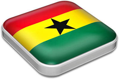 Flag of Ghana with metallic square frame