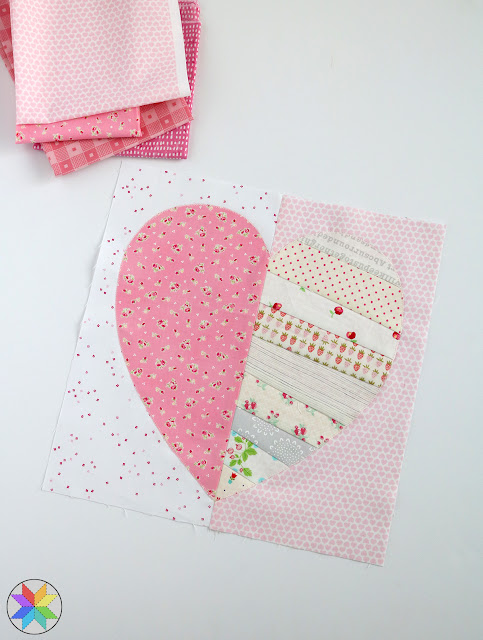 Fun and scrappy Heartstrings Quilt Block tutorial by A Bright Corner