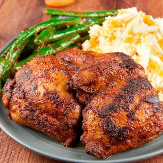 Berbere Chicken Thighs with apricot-almond couscous and green beans