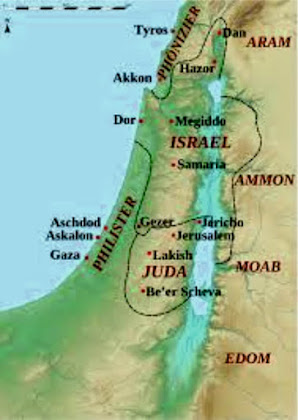 Mapa da divisão de  Israel