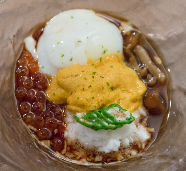 photo of Poached Egg with Uni and Salmon Roe