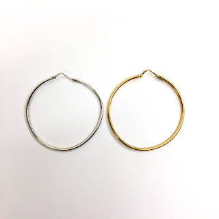 18K White and Yellow Gold Hoop Earrings