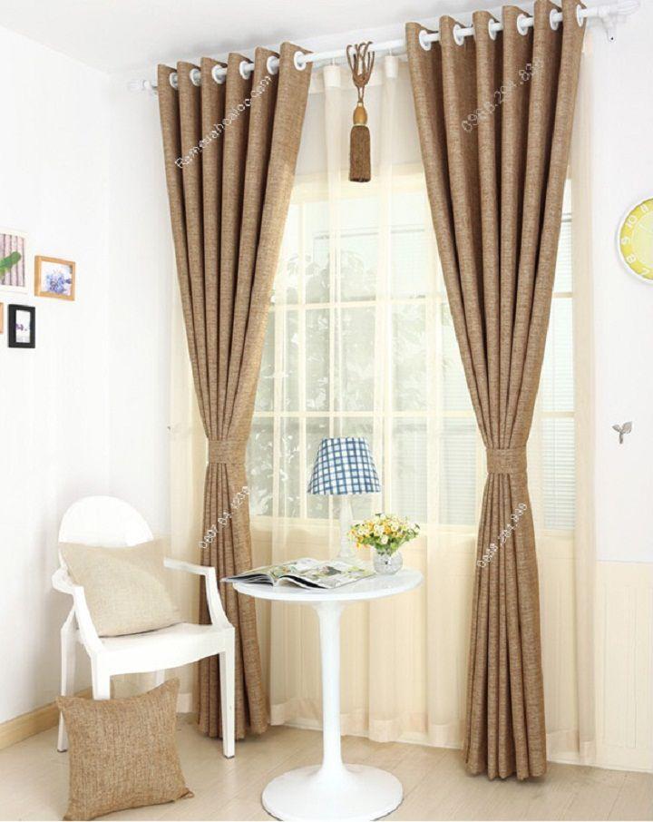 Rèm cửa đẹp hà nội một màu nâu vàng 10
