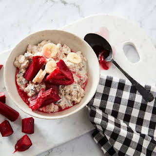 Gluten Free Bircher with Stewed Rhubarb & Banana.