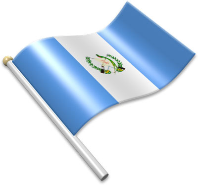 The Guatemalan flag on a flagpole clipart image