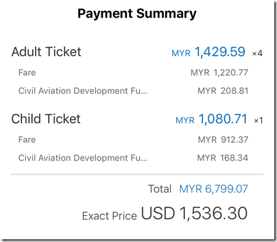 Ctrip flight booking