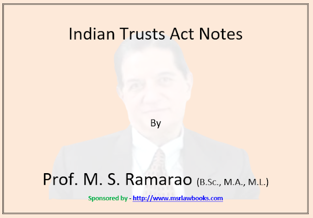 Indian Trusts Act Notes | Sponsored by MSR Law Books