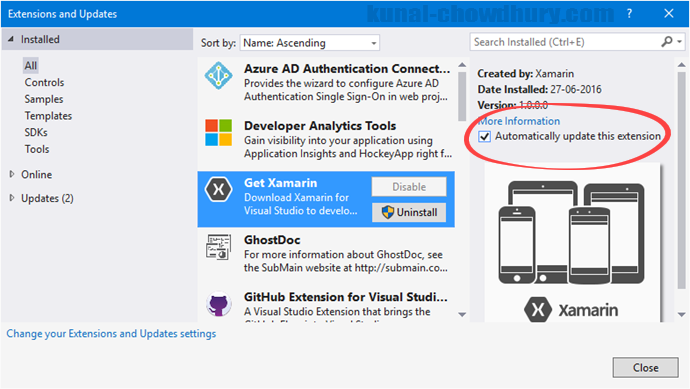 Visual Studio 2015 - Automatically update this extension enabled (www.kunal-chowdhury.com)