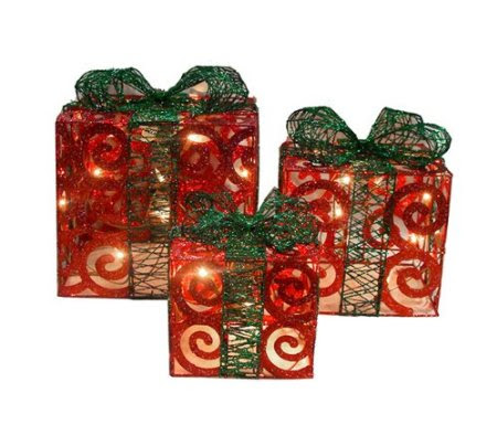 Set of 3 Sparkling Red Swirl Gift Boxes Lighted Christmas Yard Art Decorations