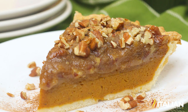 A Slice of Layered Pecan Pumpkin Pie