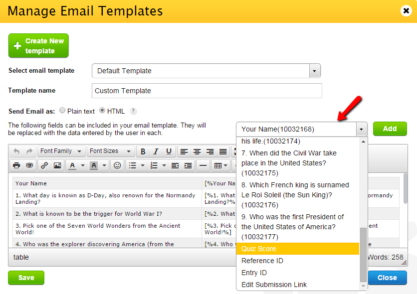 Add quiz score to custom email templates|123ContactForm Help