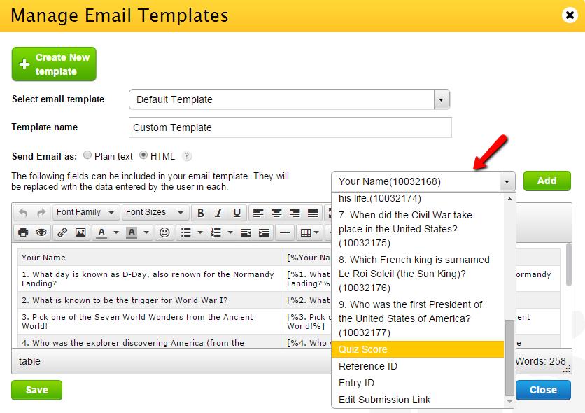 include quiz score in custom email template