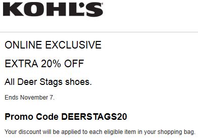 Kohls coupon 20% Off All Men's Deer Stags Shoes