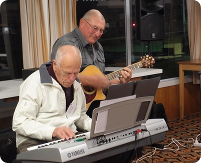 Ron Clingin accompanied by our guest artist, Kevin Johnston, for part of the arrivals music. Photo courtesy of Dennis Lyons.