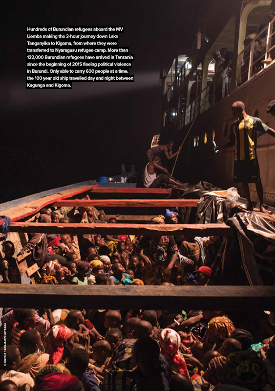 Hundreds of Burundian refugees aboard the 'MV Liemba' making the 3-hour journey down Lake Tanganyika to Kigoma, from where they were transferred to Nyaragusu refugee camp. More than 122,000 Burundian refugees have arrived in Tanzania since the beginning of 2015 fleeing political violence in Burundi. Only able to carry 600 people at a time, the 100-year-old ship travelled day and night between Kagunga and Kigoma. Photo: UNHCR