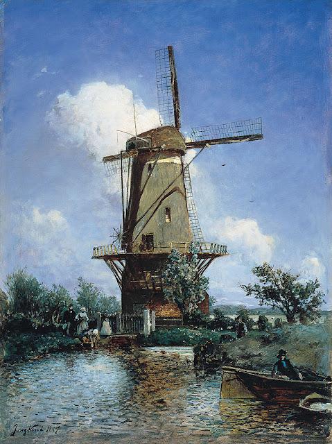 Johan Jongkind - Windmill Near Delft