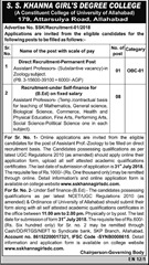 SS Khanna Girls Degree College Faculty Notification 2018 www.indgovtjobs.in