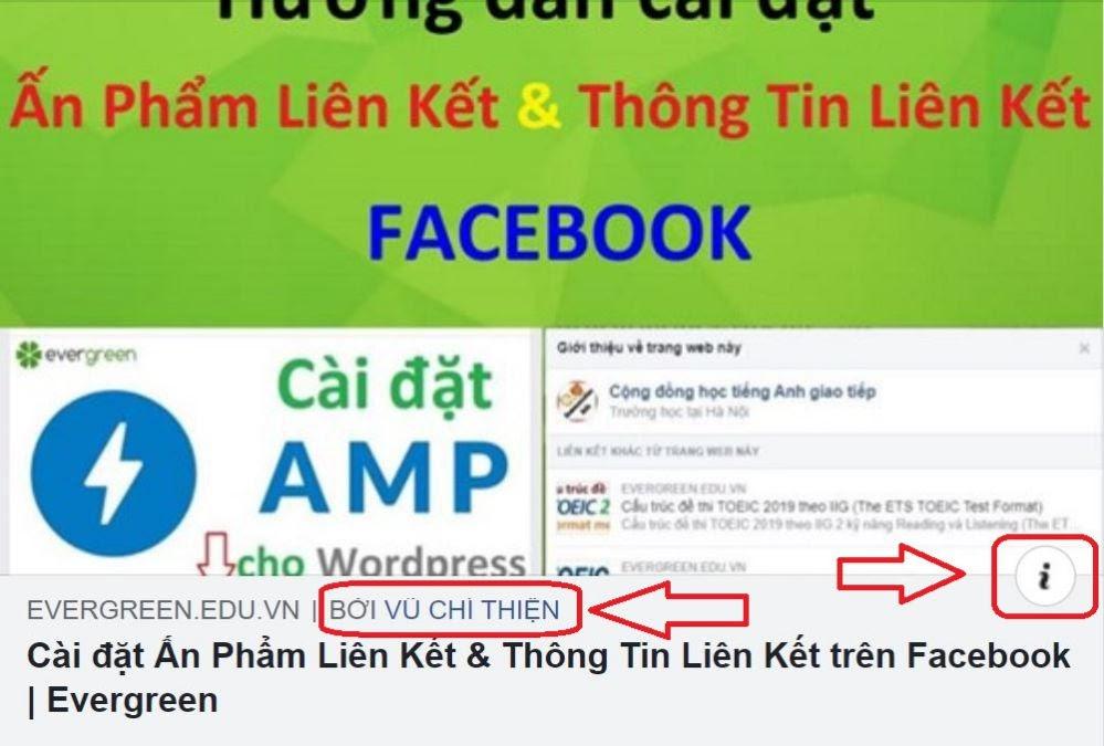 Hiện Thông Tin Tác Giả và Thông Tin Liên Kết khi share link lên Facebook