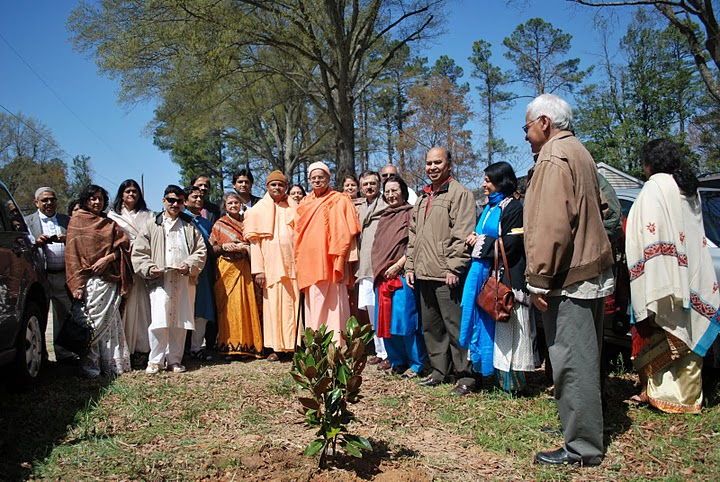 Devotees at tree planting